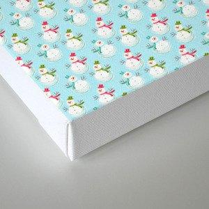 Merry christmas! Beautiful snowman pattern on aqua background Canvas Print