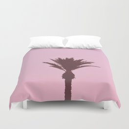 Palm Tree With Pink Background Duvet Cover