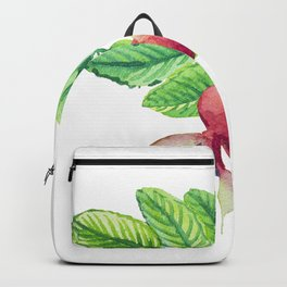 Branch leaves with a dog rose watercolor Backpack