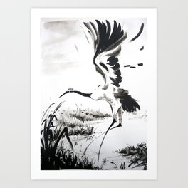 watercolor japan art grue, flying bird chinese ink Art Print