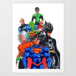 DBZ DC crossover Art Print