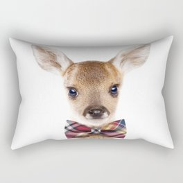 Baby Deer With Bow Tie, Baby Animals Art Print By Synplus Rectangular Pillow