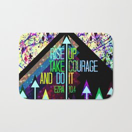 RISE UP TAKE COURAGE AND DO IT Colorful Geometric Floral Abstract Painting Christian Bible Scripture Bath Mat