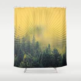 Golden Rays Forest #society6 Shower Curtain