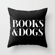 Books&Dogs - Black and White (inverted) Throw Pillow