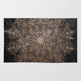 Mandala - rose gold and black marble 4 Rug