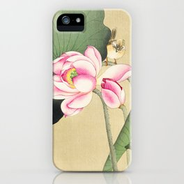 Bird sitting on lotus flower  - Vintage Japanese Woodblock Print Art iPhone Case