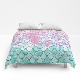 Mermaid Silhouette, Pastel Pink, Purple, Teal Comforters