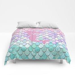 Mermaid Silhouette, Pastel Pink, Purple, Teal Comforters