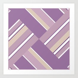 Abstraction . Light lilac pink stripe combo pattern . Art Print
