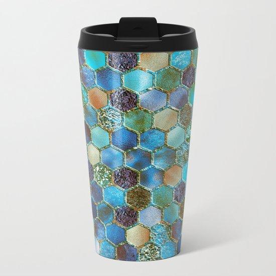 Blue & green metal glitter geometric hexagonal honeycomb pattern Metal Travel Mug