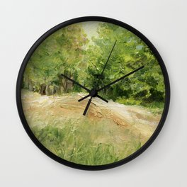 Dirt Road to Trees Oil Painting Wall Clock