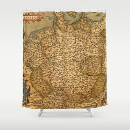 Old map of Germany 1570 Shower Curtain
