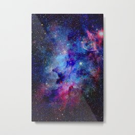 Blue Glitter Galaxy Metal Print