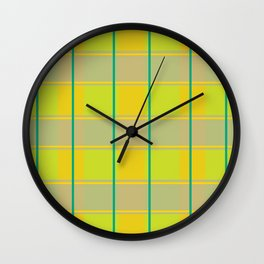 orange green tartan pattern  Wall Clock