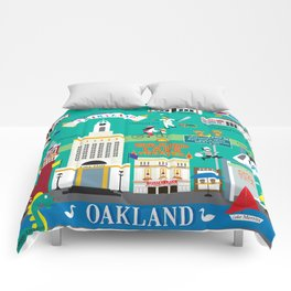 Oakland, California - Collage Illustration by Loose Petals Comforters