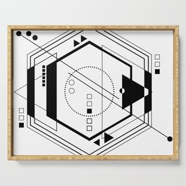 Black and white Abstract geometric galaxy  Serving Tray