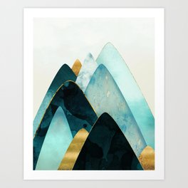 Gold and Blue Hills Art Print