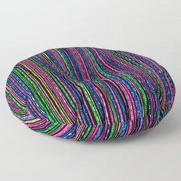 Pink Blue Green Gold Shiny Faux Sparkle Stripes Floor Pillow