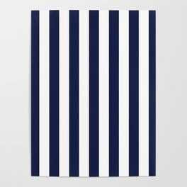 Maritime pattern- darkblue stripes on clear white - vertical Poster