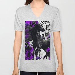 HORSE BLACK AND PURPLE THUNDER INK SPLASH Unisex V-Neck