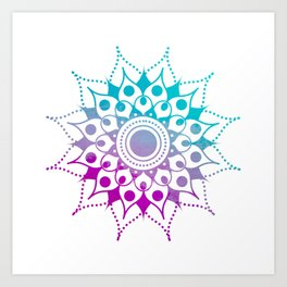 Mandala #2 (Purple Pink Turquiose) Art Print
