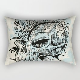 skull hand draw with flame Rectangular Pillow