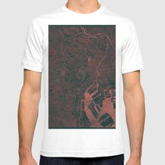 Tokyo Map Red Mens Fitted Tee White MEDIUM