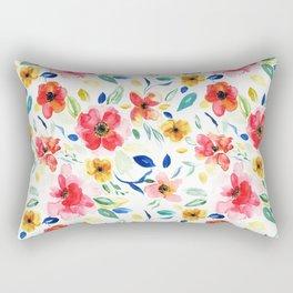 Bright Playful Watercolour Floral Pattern Rectangular Pillow