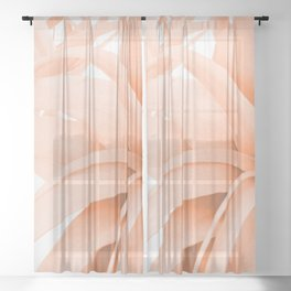 Coral Color Air Plant White Background #decor #society6 #buyart Sheer Curtain