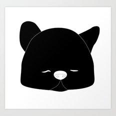 Pussy Gato Black Art Print