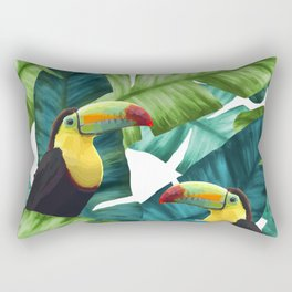 Toucans Tropical Banana Leaves Pattern Rectangular Pillow