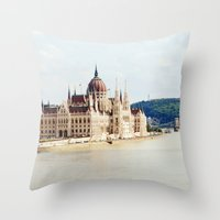 budapest Throw Pillows featuring Budapest by Christina Annbel