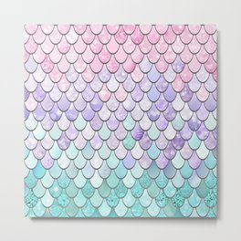 Mermaid Pastel Pink Purple Aqua Teal Metal Print