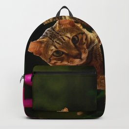 Bengal Cat Resting on Flowers Backpack