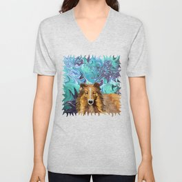 The Inquisitive Collie of the Psychedelic Dog Parade Unisex V-Neck