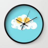sunglasses Wall Clocks featuring SUNglasses by Hippos and Nuts - Caz King