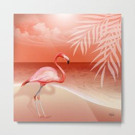 FLAMINGO BEACH | coral Metal Print