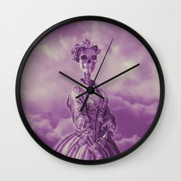 Lady Bonehead VINTAGE PURPLE / Skeleton portrait Wall Clock