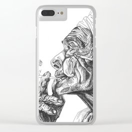 Geometric Graphic Black and White Smoker Drawing Clear iPhone Case