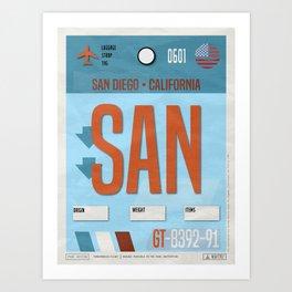 Vintage San Diego California Luggage Tag Poster Art Print