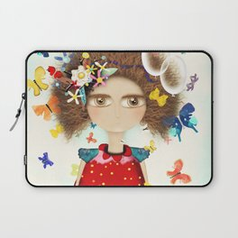 Doll Butterfly Balloons Afro Hair Flowers Laptop Sleeve