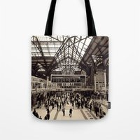 liverpool Tote Bags featuring Liverpool Station by Roxana Lazăr