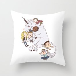 teens and wolves and unicorns Throw Pillow