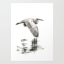 Egret with no time for regret. Art Print