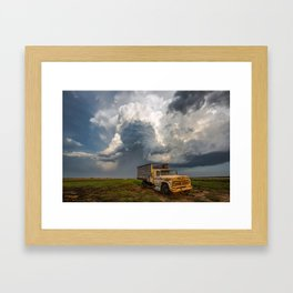 Work Hard - Old Farm Truck and Storm in Southern Kansas Framed Art Print