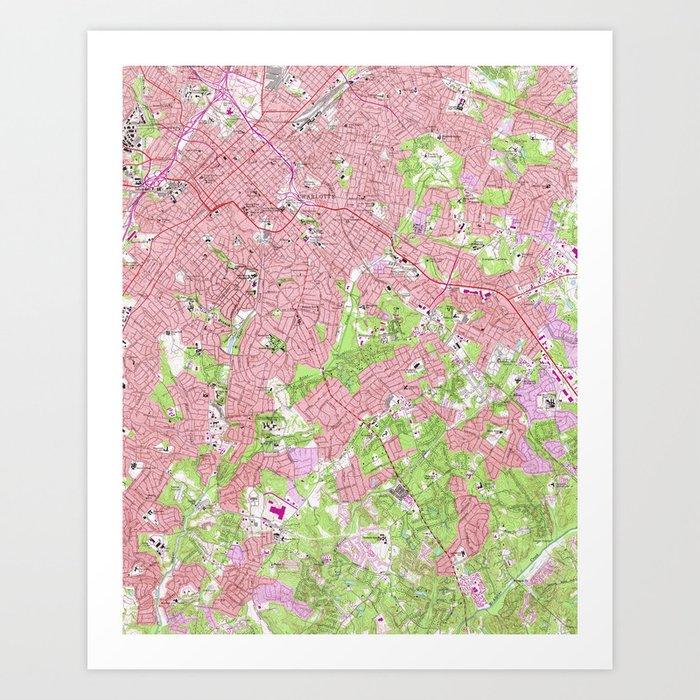 Vintage Map of Charlotte North Carolina (1967) Art Print by ...
