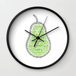 Pear Fruit illustrated with cities of Florida State Wall Clock