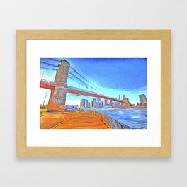 Brooklyn Bridge New York Pop Art Framed Art Print