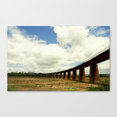 Curved rail bridge across the might Murray River Canvas Print